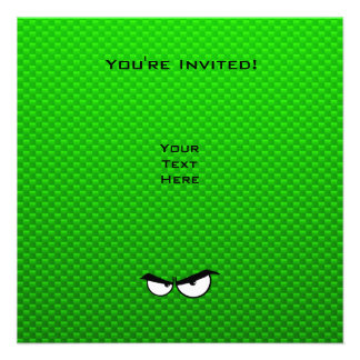 Angry Eyes Green Personalized Announcements