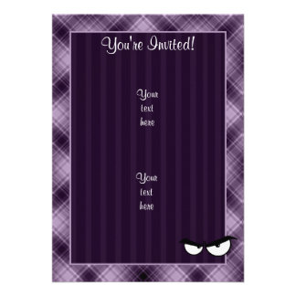 Angry Eyes Purple Personalized Invites