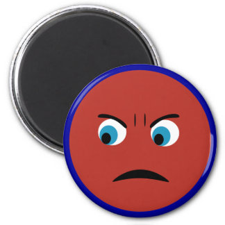 Angry Face 6 Cm Round Magnet