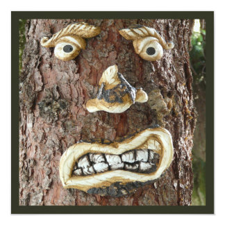 Angry Face Tree 13 Cm X 13 Cm Square Invitation Card