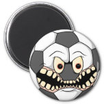 angry fierce soccer ball magnet