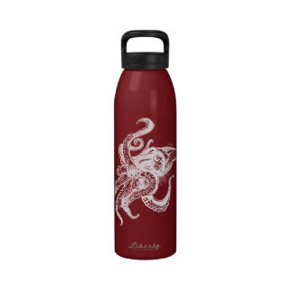 Angry Giant Squid in White Pick Your Background Reusable Water Bottles