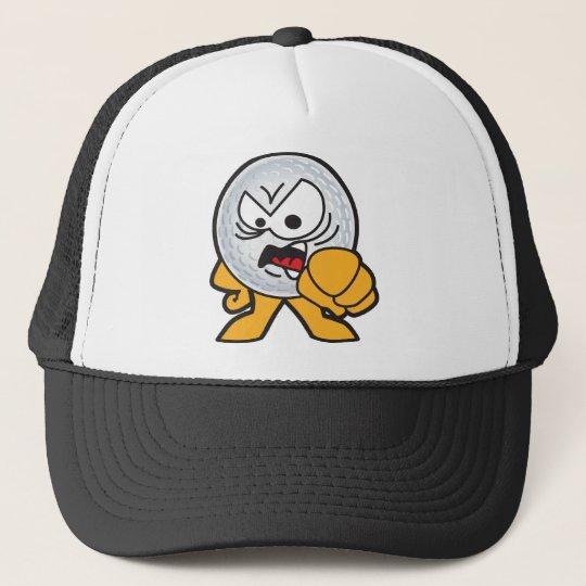 Angry Golf Ball Cartoon Cap