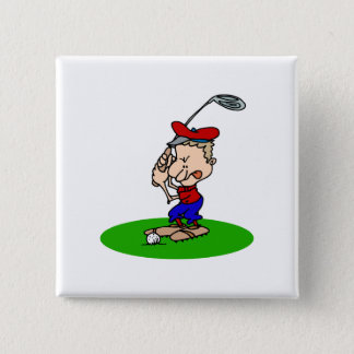 Angry Golfer 15 Cm Square Badge