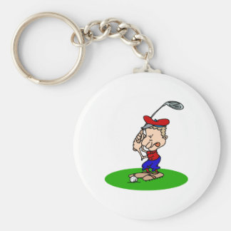 Angry Golfer Basic Round Button Key Ring