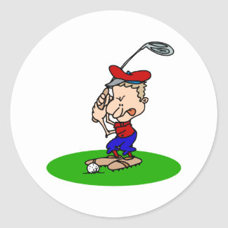 Angry Golfer Round Stickers