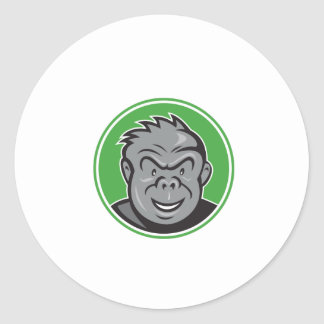 Angry Gorilla Head Circle Cartoon Sticker
