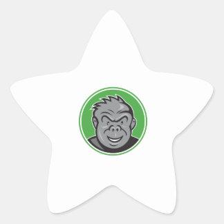 Angry Gorilla Head Circle Cartoon Star Sticker