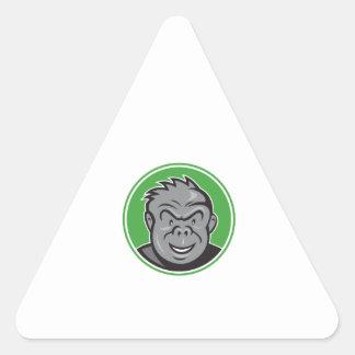 Angry Gorilla Head Circle Cartoon Triangle Sticker