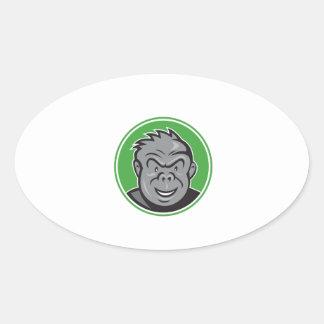 Angry Gorilla Head Circle Cartoon Oval Sticker