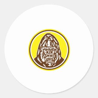 Angry Gorilla Head Circle Woodcut Retro Sticker