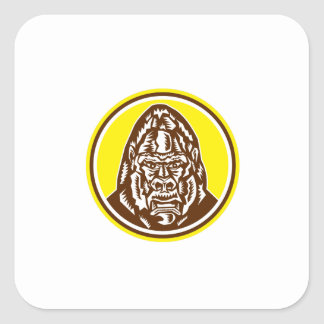 Angry Gorilla Head Circle Woodcut Retro Square Stickers