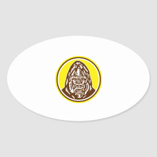 Angry Gorilla Head Circle Woodcut Retro Oval Sticker