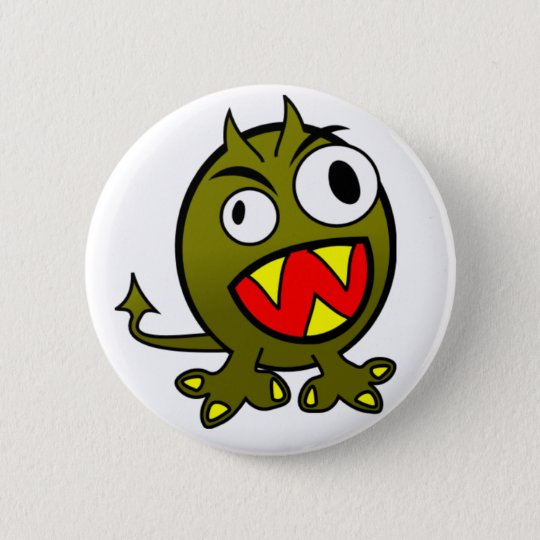 Angry Green Monster 6 Cm Round Badge
