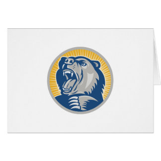 Angry Grizzly Bear Attacking Card