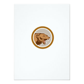 Angry Grizzly Bear Head Circle Cartoon Personalised Announcement