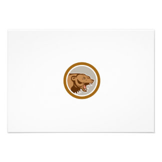 Angry Grizzly Bear Head Circle Cartoon Personalised Invitations