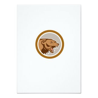 Angry Grizzly Bear Head Circle Cartoon Personalized Announcement