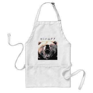 Angry Grizzly Bear is... H u n g r y Adult Apron