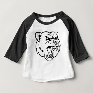 Angry  Grizzly Bear Sports Mascot Face Baby T-Shirt