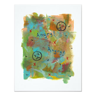 "Angry grouchy yuck face mad fun contemporary art 4.25"" x 5.5"" invitation card"