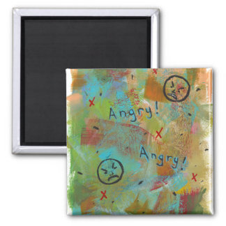 Angry grouchy yuck face mad fun contemporary art square magnet