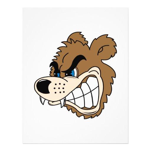 angry growling bear face custom flyer