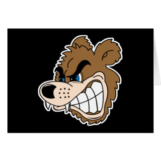angry growling bear face greeting card