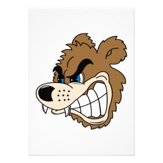 angry growling bear face personalized announcement