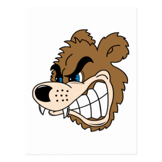 angry growling bear face post card