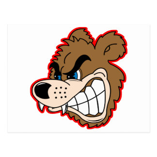 angry growling bear face postcards