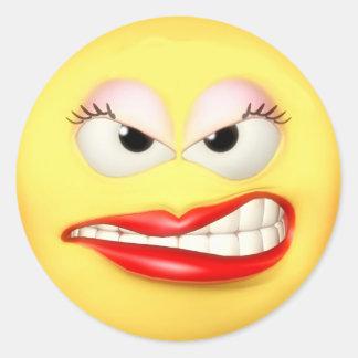 Angry Grrl Round Sticker