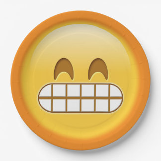 angry, grumpy emoji smiley paper plate 9 inch paper plate