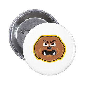 angry hairy monster face 6 cm round badge