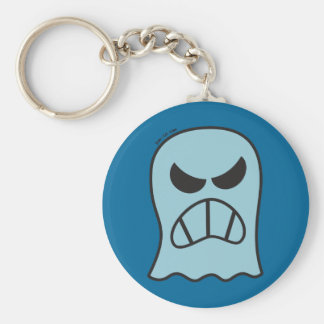 Angry Halloween Ghost Basic Round Button Key Ring