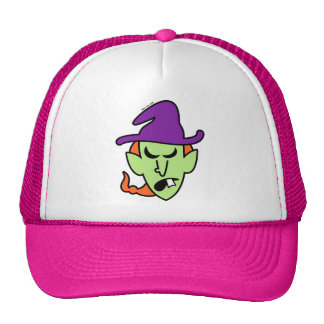 Angry Halloween Witch Mesh Hats