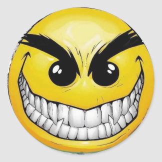 Angry Happy face Round Sticker