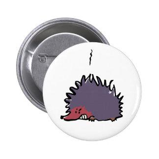 angry hedgehog 6 cm round badge
