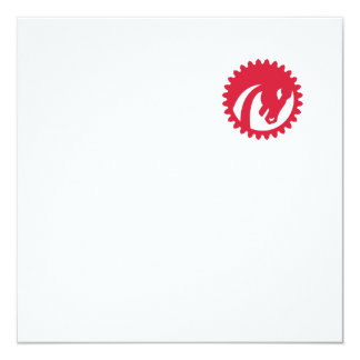 Angry Horse Head Gear Circle Retro 13 Cm X 13 Cm Square Invitation Card
