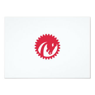 Angry Horse Head Gear Circle Retro 13 Cm X 18 Cm Invitation Card