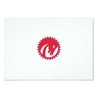Angry Horse Head Gear Circle Retro 9 Cm X 13 Cm Invitation Card