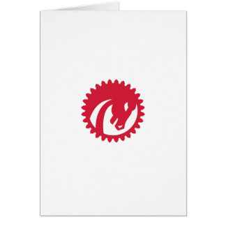 Angry Horse Head Gear Circle Retro Greeting Card