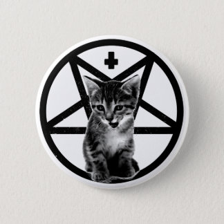 Angry Kitten Inverted Cross & Pentagram Button