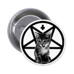 Angry Kitten Inverted Cross & Pentagram Button