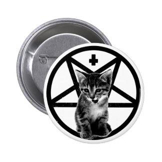 Angry Kitten Inverted Cross Pentagram Button