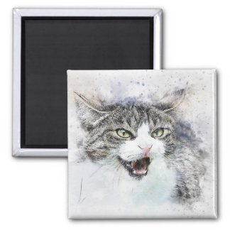 Angry Kitty | Abstract | Watercolor Magnet