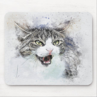 Angry Kitty | Abstract | Watercolor Mouse Mat