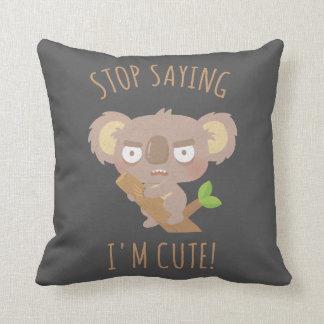 Angry Koala Bear Not Cute Funny Throw Pillow