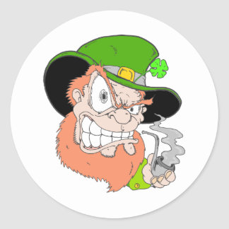 Angry Leprechaun Classic Round Sticker