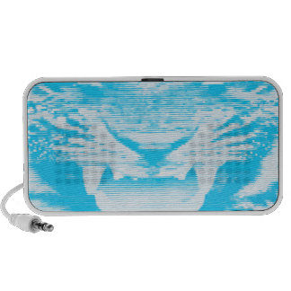 Angry Light Blue Tiger Horizontal Lines Portable Speakers